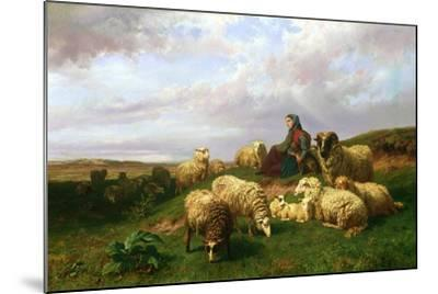 Shepherdess Resting with Her Flock, 1867-Edmond Jean-Baptiste Tschaggeny-Mounted Giclee Print