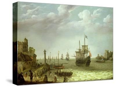 Settlement on a Rocky Shore with the Dutch Fleet Approaching, 1640-Abraham Willaerts-Stretched Canvas Print