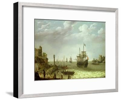 Settlement on a Rocky Shore with the Dutch Fleet Approaching, 1640-Abraham Willaerts-Framed Giclee Print