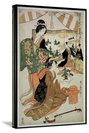 P.348-1945 Scene 1, Comparison of Celebrated Beauties and the Loyal League, C.1797-Kitagawa Utamaro-Stretched Canvas Print