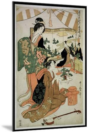 P.348-1945 Scene 1, Comparison of Celebrated Beauties and the Loyal League, C.1797-Kitagawa Utamaro-Mounted Giclee Print