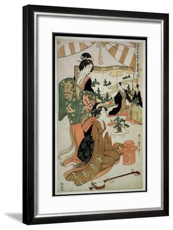 P.348-1945 Scene 1, Comparison of Celebrated Beauties and the Loyal League, C.1797-Kitagawa Utamaro-Framed Giclee Print