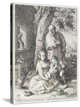 The Holy Family with St. John, 1593-Hendrik Goltzius-Stretched Canvas Print