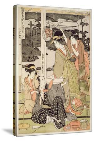 P.359-1945 Scene 12, Comparison of Celebrated Beauties and the Loyal League, C.1797-Kitagawa Utamaro-Stretched Canvas Print