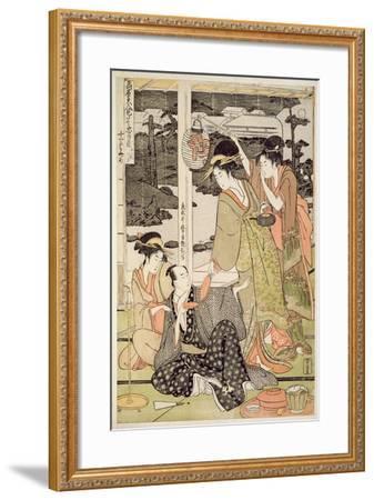 P.359-1945 Scene 12, Comparison of Celebrated Beauties and the Loyal League, C.1797-Kitagawa Utamaro-Framed Giclee Print