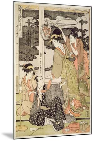 P.359-1945 Scene 12, Comparison of Celebrated Beauties and the Loyal League, C.1797-Kitagawa Utamaro-Mounted Giclee Print