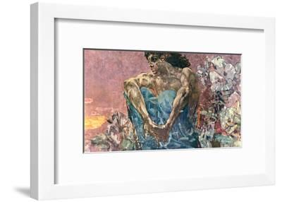 Seated Demon, 1890-Mikhail Aleksandrovich Vrubel-Framed Giclee Print