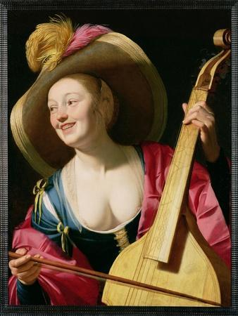 The Viola-Da-Gamba Player-Gerrit van Honthorst-Framed Giclee Print