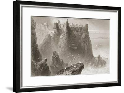 Dunluce Castle, County Antrim, Northern Ireland, from 'scenery and Antiquities of Ireland' by…-William Henry Bartlett-Framed Giclee Print