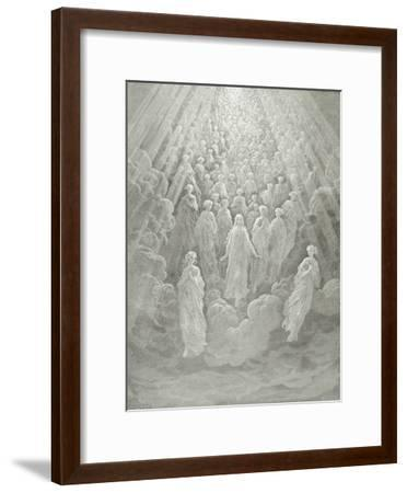 The Angels in the Planet Mercury: Beatrice Ascends with Dante to the Planet Mercury, C.1860-68-Gustave Dor?-Framed Giclee Print
