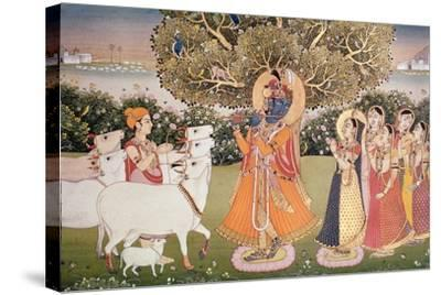 Eighth Incarnation of Vishnu as Krishna: Playing to the Gopis--Stretched Canvas Print