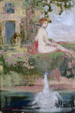 Leda and the Swan-Charles Edward Conder-Stretched Canvas Print