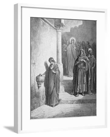 The Widow's Mite, Engraved by L. Dumont, C.1868-Gustave Dor?-Framed Giclee Print