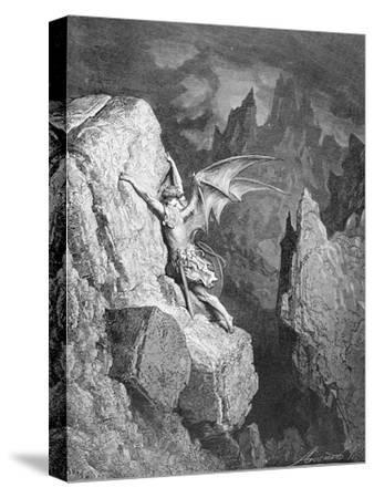 Satan's Flight Through Chaos, from 'Paradise Lost' by John Milton (1608-74) Engraved by Adolphe…-Gustave Dor?-Stretched Canvas Print