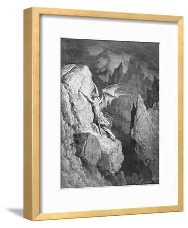 Satan's Flight Through Chaos, from 'Paradise Lost' by John Milton (1608-74) Engraved by Adolphe…-Gustave Dor?-Framed Giclee Print