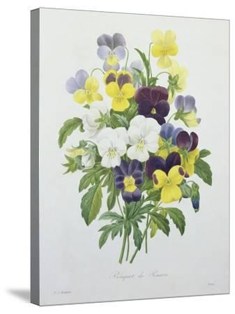 Bouquet of Pansies, Engraved by Victor, from 'Choix Des Plus Belles Fleurs', 1827-Pierre-Joseph Redout?-Stretched Canvas Print