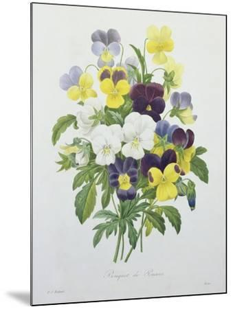 Bouquet of Pansies, Engraved by Victor, from 'Choix Des Plus Belles Fleurs', 1827-Pierre-Joseph Redout?-Mounted Giclee Print
