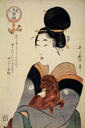 A Woman Holding a Dog in Her Arms, from 'Five Physiognomies of Beauty', C.1804-Kitagawa Utamaro-Framed Giclee Print