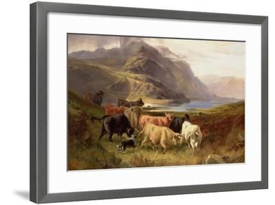 Highland Cattle with a Collie- Joseph Adam and Joseph Denovan Adam-Framed Giclee Print