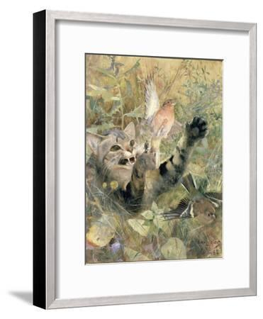 A Cat and a Chaffinch, 1885-Bruno Andreas Liljefors-Framed Giclee Print