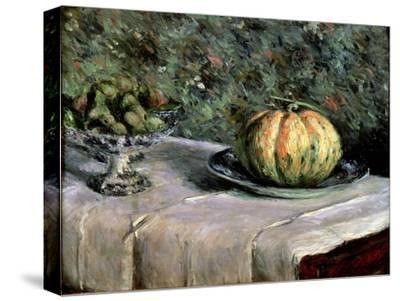 Melon and Fruit Bowl with Figs, 1880-82-Gustave Caillebotte-Stretched Canvas Print