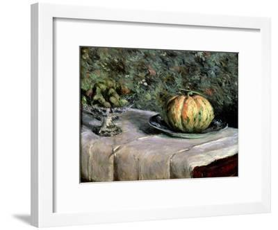 Melon and Fruit Bowl with Figs, 1880-82-Gustave Caillebotte-Framed Giclee Print