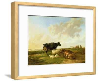 Landscape with Cows and Sheep, 1850-Thomas Sidney Cooper-Framed Giclee Print