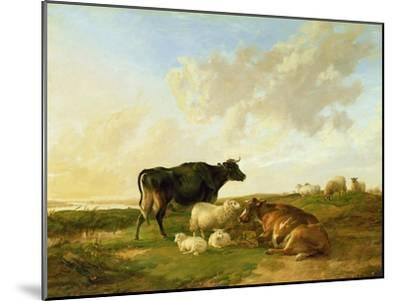 Landscape with Cows and Sheep, 1850-Thomas Sidney Cooper-Mounted Giclee Print