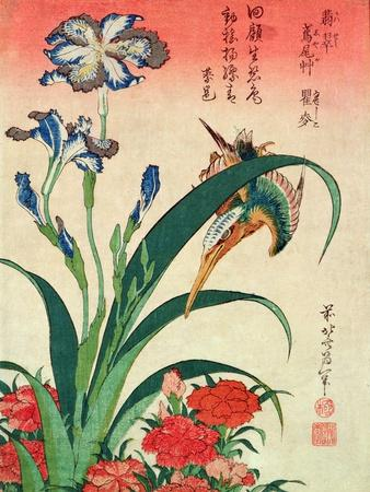 Kingfisher, Iris and Pinks, Pub. by Nishimura Eijudo, C.1832, One of a Set of Ten Prints-Katsushika Hokusai-Stretched Canvas Print