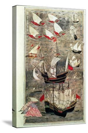 The Ottoman Fleet of Tarik-Y Bayezid--Stretched Canvas Print