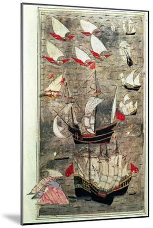 The Ottoman Fleet of Tarik-Y Bayezid--Mounted Giclee Print