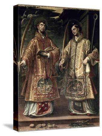 St. Lawrence and St. Stephen, 1580-Alonso Sanchez Coello-Stretched Canvas Print