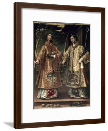 St. Lawrence and St. Stephen, 1580-Alonso Sanchez Coello-Framed Premium Giclee Print