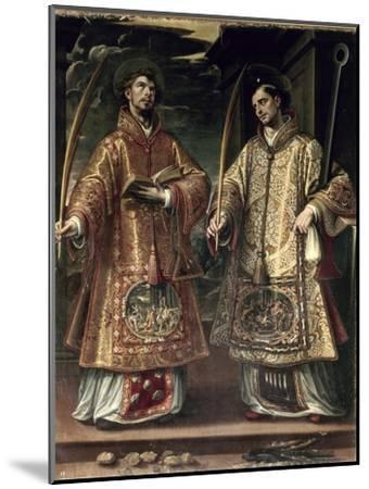 St. Lawrence and St. Stephen, 1580-Alonso Sanchez Coello-Mounted Premium Giclee Print