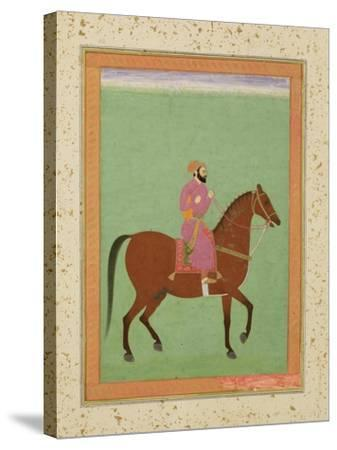 A Mughal Amir on Horseback, C.1670-80, from the Large Clive Album--Stretched Canvas Print