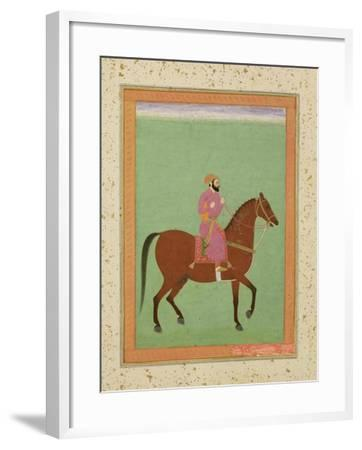 A Mughal Amir on Horseback, C.1670-80, from the Large Clive Album--Framed Giclee Print