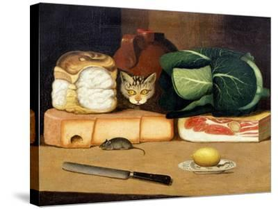 Larder Still Life with a Cat Hunting a Mouse, C.1840--Stretched Canvas Print
