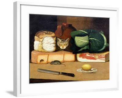 Larder Still Life with a Cat Hunting a Mouse, C.1840--Framed Giclee Print