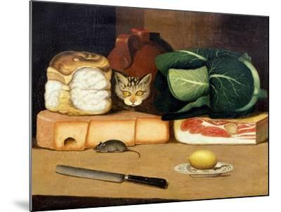 Larder Still Life with a Cat Hunting a Mouse, C.1840--Mounted Giclee Print