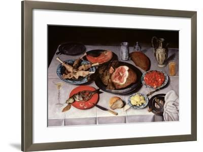 Breakfast Piece with a Fish, Ham and Cherries, 1614-Jacob van Hulsdonck-Framed Giclee Print