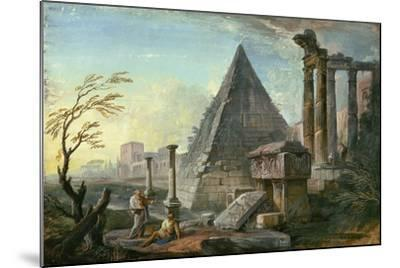 Pyramid of Caius Cestius at Rome-Jean-Baptiste Lallemand-Mounted Giclee Print