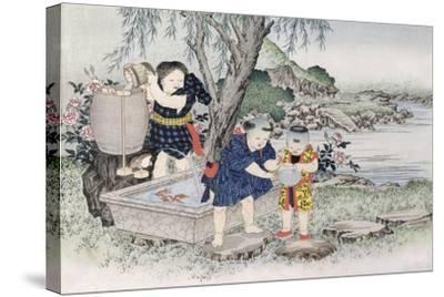 Goldfish from the Series 'Children's Games', 1888-Kobayashi Eitaku-Stretched Canvas Print