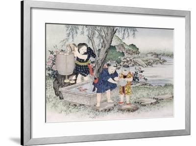 Goldfish from the Series 'Children's Games', 1888-Kobayashi Eitaku-Framed Giclee Print