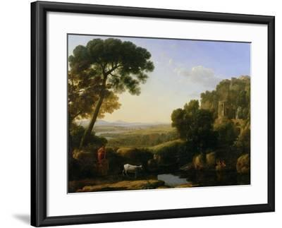A Sunset or Landscape with Argus Guarding Io-Claude Lorraine-Framed Giclee Print