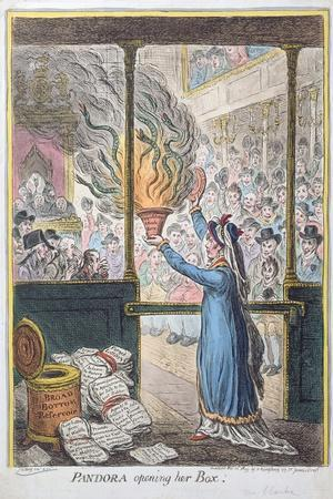 Pandora Opening Her Box, Published by Hannah Humphrey, 1809-James Gillray-Stretched Canvas Print