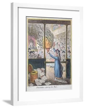 Pandora Opening Her Box, Published by Hannah Humphrey, 1809-James Gillray-Framed Giclee Print