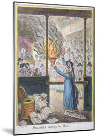 Pandora Opening Her Box, Published by Hannah Humphrey, 1809-James Gillray-Mounted Giclee Print