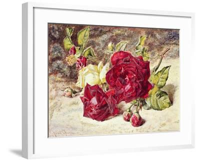One White and Two Red Roses and Buds-Helen Cordelia Coleman Angell-Framed Giclee Print