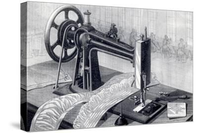 Wilson Sewing Machine, Showing Belt Drive from Treadle and Oil Can, from Park Benjamin Appleton's…--Stretched Canvas Print