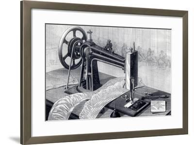 Wilson Sewing Machine, Showing Belt Drive from Treadle and Oil Can, from Park Benjamin Appleton's…--Framed Giclee Print